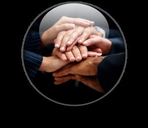 Hands ontop of hands in circle